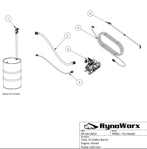 Barrel Spray System Parts  - Honda Engine, Cast Iron Pump