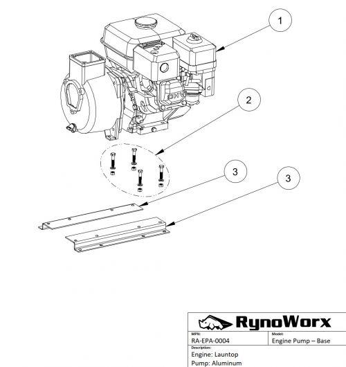 Launtop Engine, Aluminum Pump Base Parts